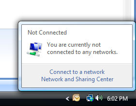 "Look: a networking icon with the Internet/World symbol but ""not connected."""