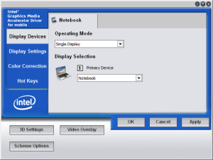 The Intel Mobile Graphics Accelerator Utility was the key to proper resolution